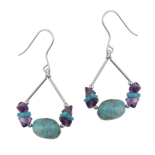 Sterling Silver Amethyst and Turquoise Chip and Nugget Swing Drop French Wire Earrings