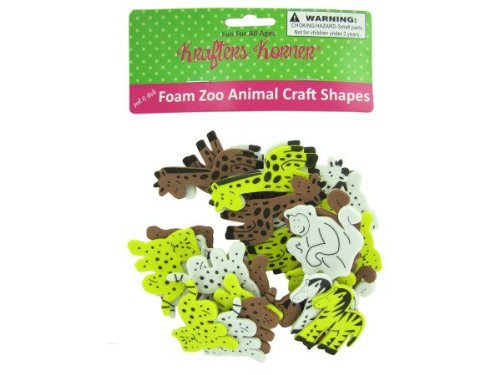 Foam zoo animal craft shapes - Pack of 48