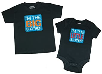 Baby Coming! Big Brother & Little Sister T-Shirt & 6-Months Bodysuit (18 Months)