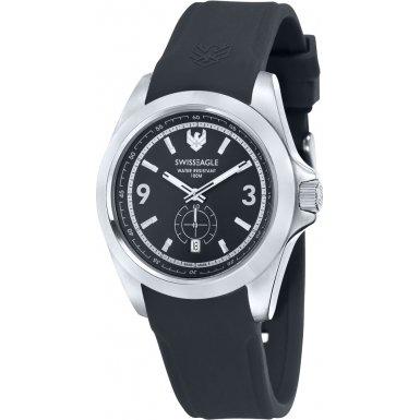 Swiss Eagle SE-9064-01 - Reloj para hombres, correa de silicona color negro