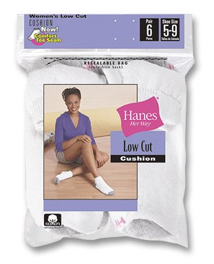 Buy Womens Hanes 6 Pair Cotton Ankle Socks White 8-10 – 680/6