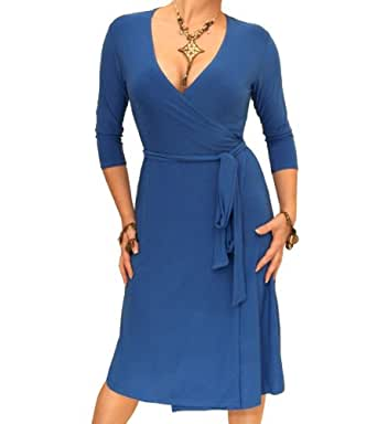 Blue Banana Blue Elegant Slinky Wrap Dress Size 8