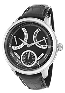 Men's Masterpiece Mechanical Retrograde Black Dial Black Leather