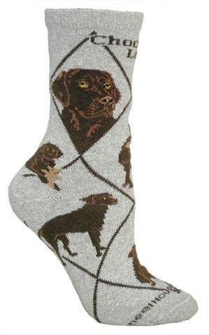 Chocolate Labrador Retriever Dog (Gray) Novelty Socks for Adults (Size 9-11)