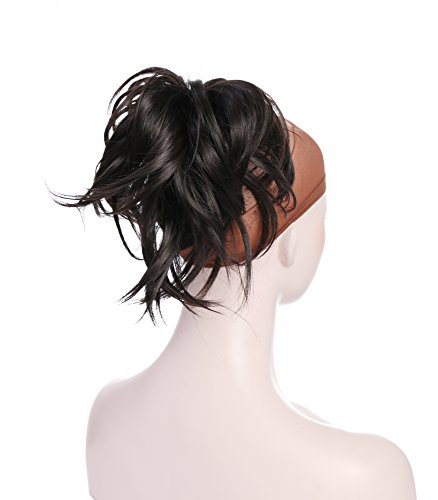 Onedor 12 Inch Adjustable Messy Style Ponytail Hair Extension Synthetic Hair-Piece with Jaw Claw (4# Dark Brown) (Dark Blue Hair Dye Splat compare prices)