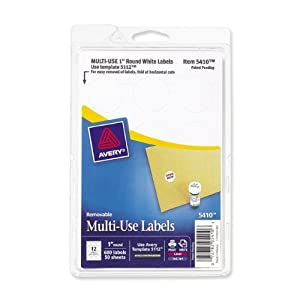 Avery Self-Adhesive Removable Labels, 1-Inch Diameter, White, Pack of 600 (05410)