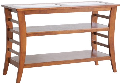 Cheap Baxton Studio Allison Honey Brown Wood Modern Console Table with Glass Inlay (CHW35898-50)