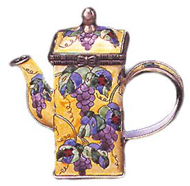 Kelvin Chen Enameled Miniature Tea Pot - Grapes & Ladybug