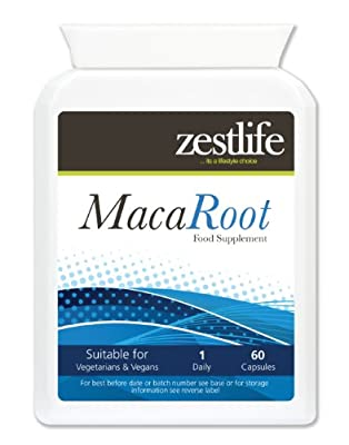 Zestlife Maca Root 4:1 (1000mg equivalent) 2 x 60 capsules Helps lower blood pressure | Decreases Anxiety | Increases Adrenalin, Energy, Stamina, Vitality and Endurance! Another Superb Supplement from Zestlife! by Zestlife
