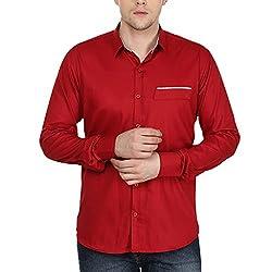 Stylox Men's Maroon Cotton Shirt Maroon
