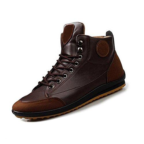 Gleader Uomo Casual Inverno Scarpe Alte Calde In Velluto Stivali impermeabili Sneakers Marrone scuro£šUS 10/UK 9.5/EUR44£©