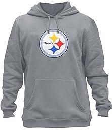 Clor Mens Pittsburgh Steelers Super Athletic Pullover Hoodie - Grey XL