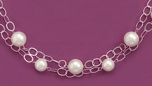 8/12mm White Glass Pearl Beads Adjustable Sterling Silver Necklace, 16 + 2 in Ext long, 2-Strand