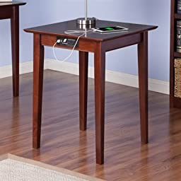 Atlantic Furniture AH10114 Shaker Printer Stand With Charger, Antique Walnut