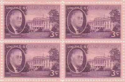 Roosevelt - White House Set of 4 x 3 Cent US Postage Stamps NEW Scot 932