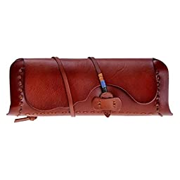 ZLYC Women Handmade Fashion Vegetable Tanned Leather Belt Closure Wallet Clutch, Red Brown