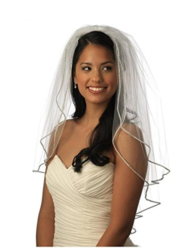 Top-Sexy 2T 2 Tier Bling Diamonds Lined Short Wedding Bridal Veil 07 (Light Ivory)