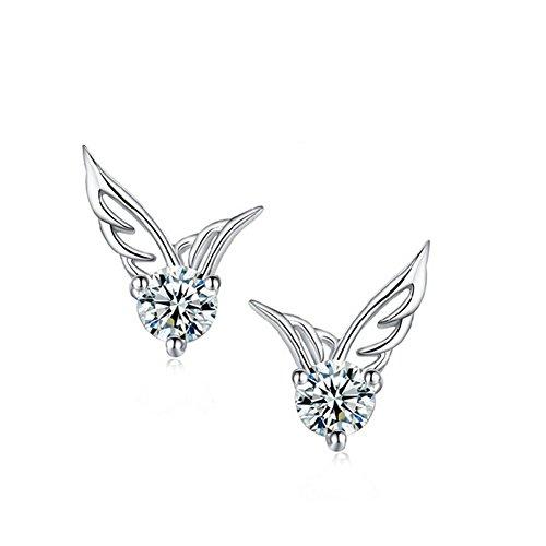 OUMOSI Bling Jewelry-Ciondolo in argento Sterling 925, a forma di ali d'angelo-Orecchini a perno con cristalli