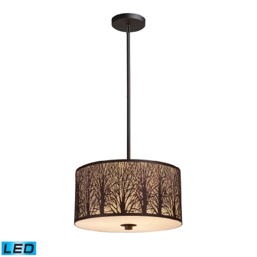 Woodland Sunrise 3-Light Pendant In Aged Bronze - Led, 800 Lumens (2400 Lumens Total) With Full Scale Dimming Range, 60 Watt (180 Watt Total)Equivalent , 120V Replaceable Led Bulb Included