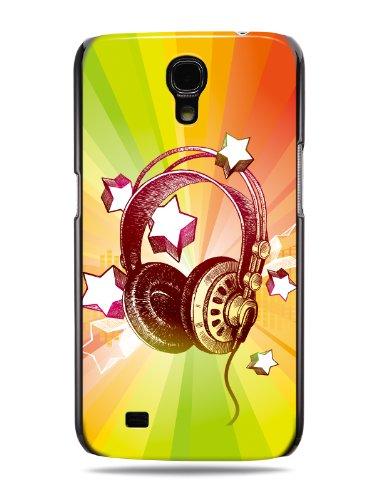 "Grüv Premium Case - ""Colorful Music Dj Headphones & Stars"" Design - Best Quality Designer Print On Black Hard Cover - For Samsung Galaxy Mega 6.3 I9200"