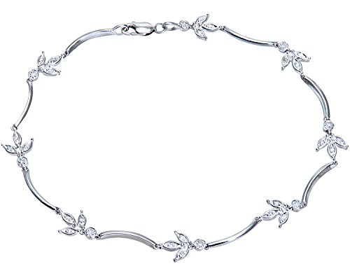 Naava 9 ct White Gold 0.15 ct Diamond Leaf Link Bracelet