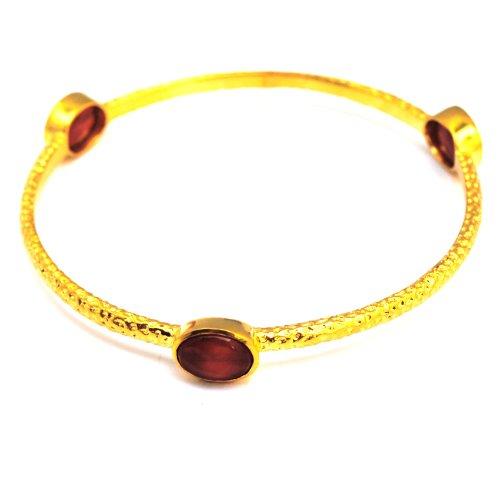 Designer Jewellery - Azuni Luna Carnelian & Gold Plated Bangle