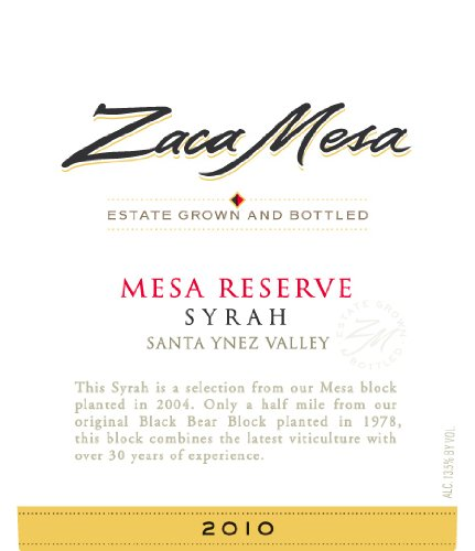 2010 Zaca Mesa Winery Mesa Syrah Reserve Santa Barbara County, Santa Ynez Valley 750 Ml