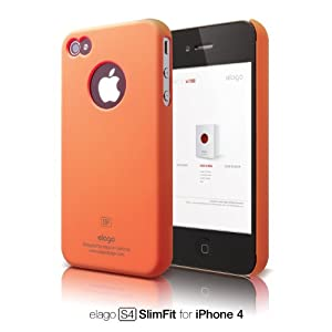 elago S4 Slim Fit Case for iPhone 4 (Soft Feeling) - SF Orange + Logo Protection Film included