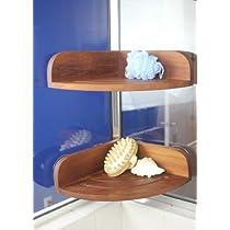 sold teak corner suction shower shelf