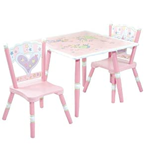 Pink With Pale Green And White Accents - Levels Of Discovery Fairy Wishes Table and 2 Chair Set Pink/White from Levels of Discovery
