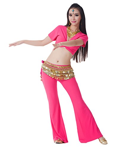 AveryDance 3-pieces Set Belly Dance Gold Coins Costume Set
