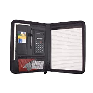 Job Interview Padfolio Organizer Documents Holder with Calculator Legal Notepad and Pen Holder