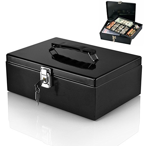 Flexzion Cash Box Locking Latch with Removable 7-Compartment Tray Steel Construction Cashier Drawer Money Safe Security Fits Currency Coins Bills Checks Black (Cash Register With Lock compare prices)
