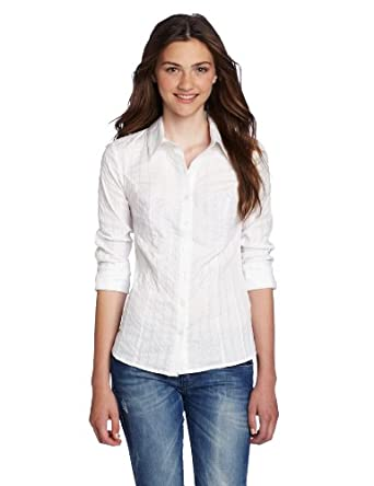 My Michelle Juniors Button Down Collar Shirt, White/Silver, X-Large at