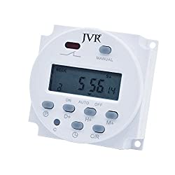 Programmable Timer with Keys Lock, JVR LCD Digital Time Relay Zero Voltage Switch, Daily Weekly 16 ON/OFF Settings for Automatic Chicken Coop Door, Solar System, Lights, Kitchen, DC 12V