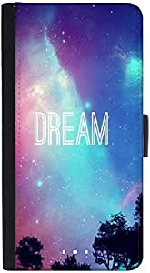 Snoogg Dream Universe Graphic Snap On Hard Back Leather + Pc Flip Cover Htc M9