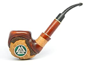 "Odin's Tobacco Smoking pipe "" Viking Valknut"" Hrungnir's Heart, Knot of the Calin, Great Viking, Nordic, Germanic, Scandinavian Collectible (Green)"
