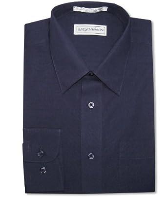 Biagio men 39 s 100 cotton solid navy blue color dress shirt for Navy blue color shirt
