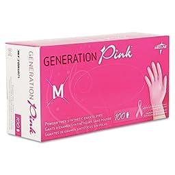 Generation Pink Vinyl Gloves, Pink, Medium, 100/Box, Sold as 1 Box, 100 Each per Box
