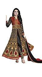 Fashion Fire Women's Black Embroidered Georgette Anarkali Unstitched Dress Material