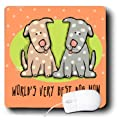 3dRose LLC 8 x 8 x 0.25 Inches Mouse Pad, World s Best Dog Mom Cute Cartoon Puppies Pets Animals (mp_33983_1)