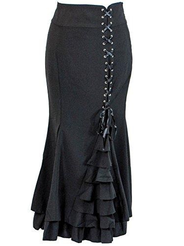 Plus-Size-Black-Gothic-Mermaid-Asymmetrical-Fishtail-Corset-Ruffles-Long-Skirt