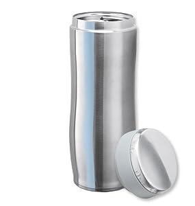Isosteel Reisebecher - Traveller Mug 0,45 L mit zweiteiligem, aufschraubbarem Kunststoff/Edelstahldeckel inkl. Ventil zum Druckausgleich, VA-9682