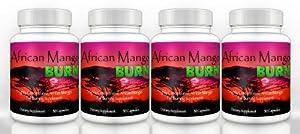 African Mango Burn (4 Bottles) - The Ultimate African Mango Fat Burning Supplement. Pure Irvingia Gabonensis Weight Loss, Appetite Suppressing Diet Pill