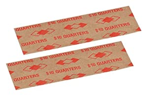 PM Company $10/SecurIT Kraft Flat Quarter Coin Wrappers, 4 Inches Length, Brown/Orange, 16,000 Carton (53025)