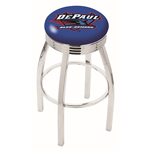 "Logo Series Bar Stool NCAA Team: DePaul University, Size: 25"", Frame Type: Solid Welded Black"