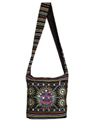 Rajrang Womens Camel Printed Canvas Patch Work Black Sling Bag
