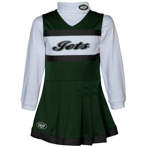 NFL Reebok New York Jets Preschool Girls Green-White 2-Piece Turtleneck & Cheerleader Dress Set (5/6) at Amazon.com