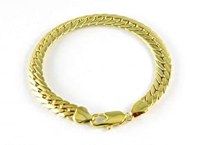 Yellow Gold Plated Mens Curb Bracelet With Preciousbags Dust Bag by PreciousYou