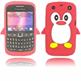 Penguin Silicone Case Cover Shell For Blackberry Curve 9350 9360 9370 / Red